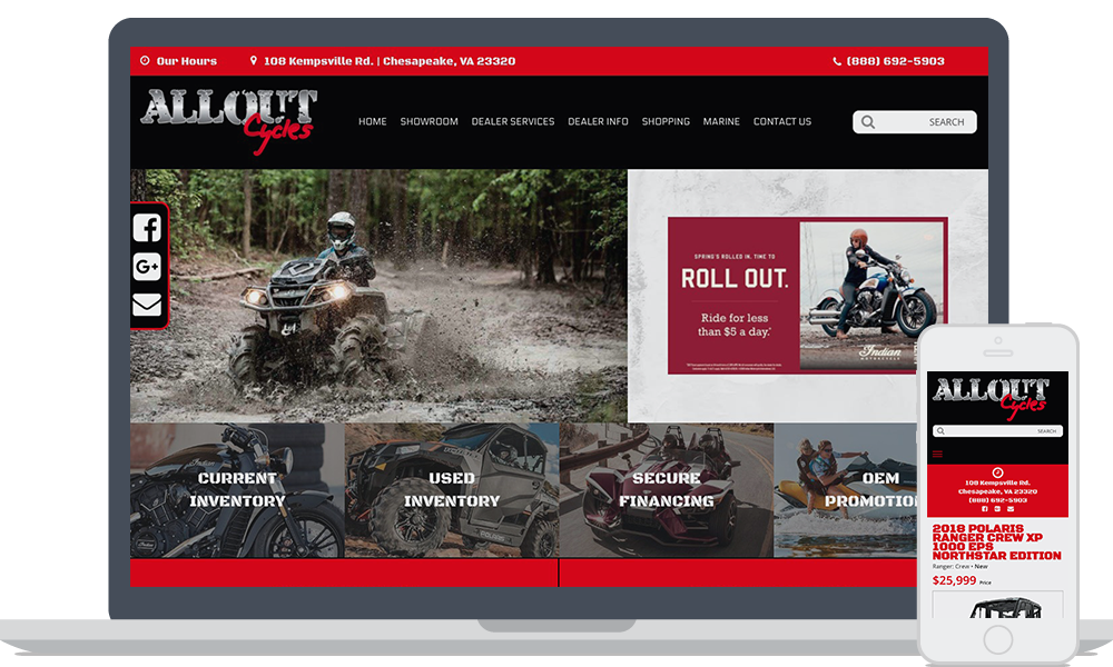 All Out Cycles website shown on laptop and mobile phone