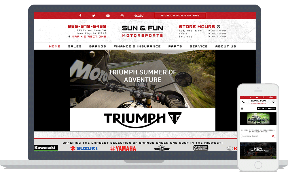 The Sun & Fun Motorsports website shown on laptop and mobile phone