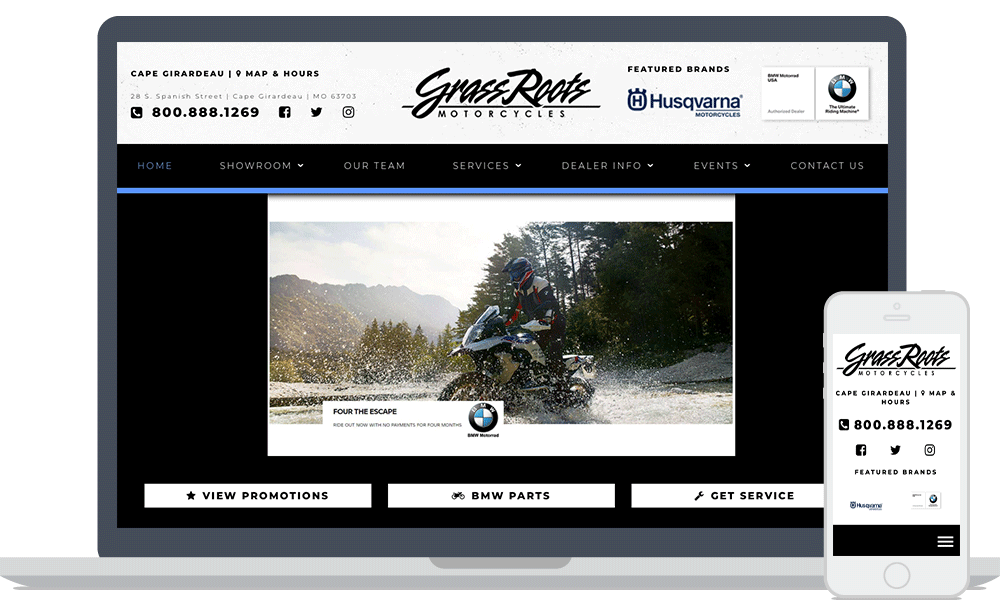 Grass Roots BMW website shown on laptop and mobile phone