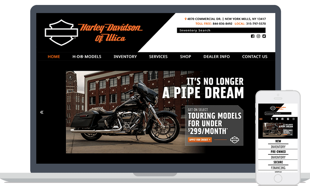 Harley-Davidson of Utica website shown on laptop and mobile phone