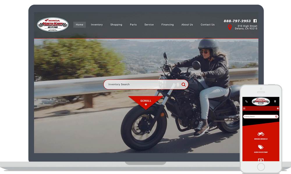 North Kern Motorsports website shown on laptop and mobile phone