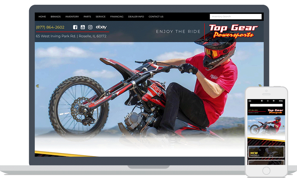 Top Gear Powersports website shown on laptop and mobile phone