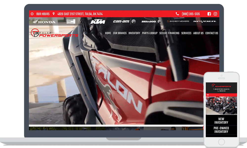 Tulsa Powersports website shown on laptop and mobile phone